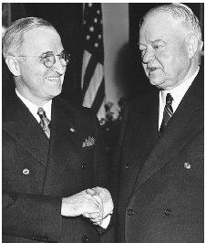 The presidency's burdens are understood and shared by those who have held the seat of power. Harry Truman (left) and Herbert Hoover, though members of opposing political parties, enjoyed a warm friendship and are shown at the White House during Truman's term. CORBIS