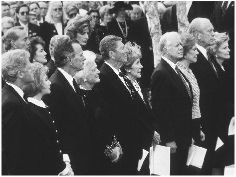 The April 1994 funeral for President Nixon was attended by the former presidents and their wives. From left, Presidents Clinton, Bush, Reagan, Carter, and Ford along with the former first ladies. ARCHIVE PHOTOS