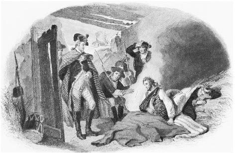 General George Washington visits with wounded soldiers of his Continental Army at Valley Forge during the bitter winter of 1777–1778. THE LIBRARY OF CONGRESS/CORBIS