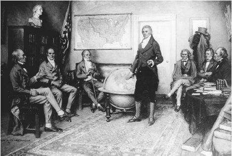 President James Monroe is depicted with his cabinet as he outlines the Monroe Doctrine, a new direction in U. S. foreign policy that demonstrated American resolve and power in the hemisphere. THE LIBRARY OF CONGRESS