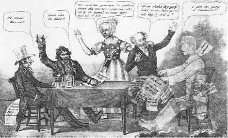 "An 1837 political cartoon depicts a modern version of Macbeth, with President Van Buren recoiling in horror at the sight of the ""ghost of commerce"" in the midst of the economic crisis of the Panic of 1837. THE LIBRARY OF CONGRESS"