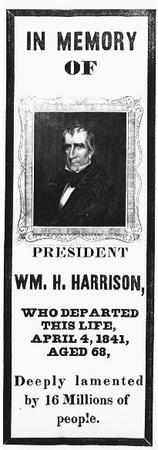 Americans in mourning over the sudden death of President Harrison in 1841 expressed their grief by wearing armbands such as the above. THE LIBRARY OF CONGRESS