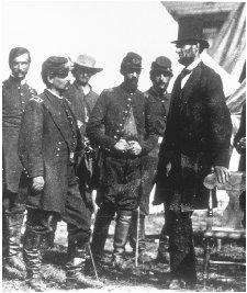 Abraham Lincoln (right) meets with George McClellan, his first commanding general, in the field during the Civil War. Lincoln was later forced to replace him, and McClellan was the Democratic nominee for president against Lincoln in 1864. CORBIS