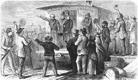 Johnson toured the nation by railway during the 1866 congressional elections in an unprecedented attempt to bolster the campaigns of Democratic candidates and his Reconstruction policies. THE LIBRARY OF CONGRESS