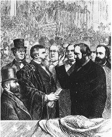 Rutherford B. Hayes takes the oath of office from Chief Justice Morrison Waite on the steps of the U.S. Capitol on 4 March 1877. The election of Hayes remains one of the most controversial in American history. THE LIBRARY OF CONGRESS