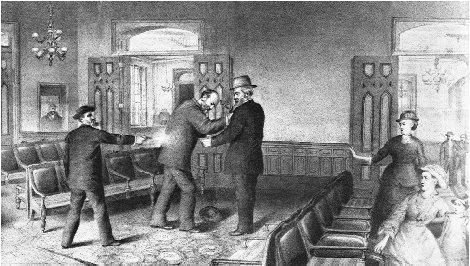 President James A. Garfield was shot by Charles Guiteau on 2 July 1881. Garfield suffered through a painful summer before succumbing. THE LIBRARY OF CONGRESS