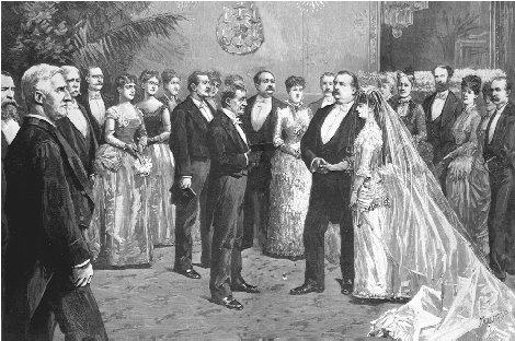 President Cleveland wed Frances Folsom in the White House on 12 June 1886. THE LIBRARY OF CONGRESS