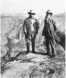 Theodore Roosevelt (left) was noted for his conservationist policies as president. Here he stands with naturalist John Muir at Glacier Point, Yosemite Vally, California, in 1906. They collaborated on setting aside forest preserves in the area. BETTMANN/CORBIS