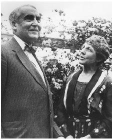 Warren G. Harding and his wife, Florence, share a light moment in the garden. THE LIBRARY OF CONGRESS