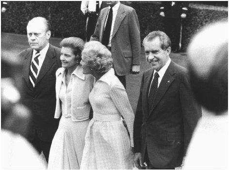Richard Nixon (far right) is accompanied by Gerald Ford, Betty Ford, and Pat Nixon on the south lawn of the White House on 9 August 1974, the final day of Nixon's presidency. UPI/CORBIS-BETTMANN