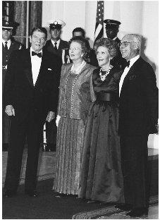 President and Mrs. Reagan entertain British Prime Minister Margaret Thatcher and her husband, Dennis, prior to a state dinner at the White House in 1988. Reagan and Thatcher were strong allies and like-minded about Cold War strategies. CORBIS/BETTMANN