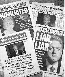 New York City newspapers blare the headlines the day after President Clinton's admission to a national television audience of an inappropriate relationship with a former White House intern. AP/WIDE WORLD