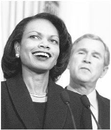 President Bush relied heavily on trusted advisers such as national security adviser Condoleezza Rice in the wake of 11 September 2001. AP/WIDE WORLD PHOTOS