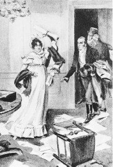 Dolley Madison is depicted saving the Declaration of Indpenedence before fleeing the White House during the British raids on Washington, D.C., in the War of 1812. BETTMAN/CORBIS